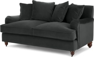 An Image of Orson 2 Seater Sofa, Scatterback, Midnight Grey Velvet