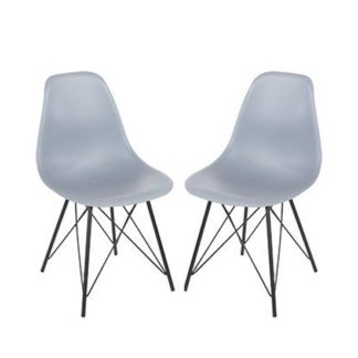 An Image of Arturo Grey Bistro Chair In Pair With Black Metal Legs