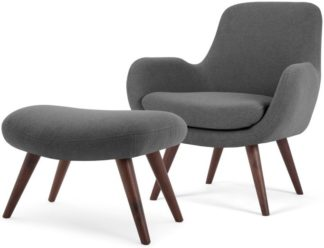 An Image of Moby Accent Armchair and Footstool, Marl Grey