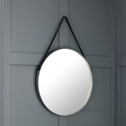 An Image of Opera Round Pewter Mirror With Black Strap