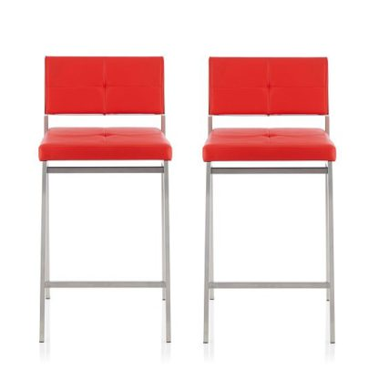 An Image of Luciani Modern Bar Stool In Red Faux Leather In A Pair