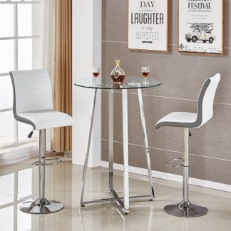 An Image of Poseur Glass Bar Table With 2 Ritz White And Grey Bar Stools