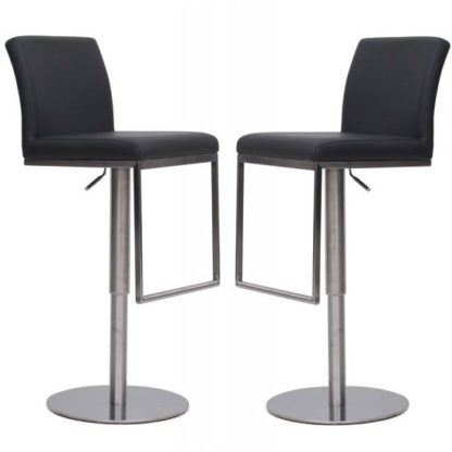 An Image of Bahama Bar Stools In Grey Faux Leather In A Pair