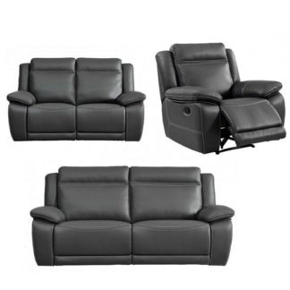 An Image of Baxter Recliner Sofa Suite In Dark Grey Leather Air Fabric