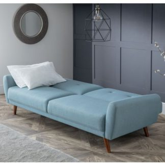 An Image of Monza Linen Compact Retro Sofabed In Blue