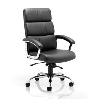 An Image of Tillie Bonded Leather Executive Chair In Black With Chrome Base