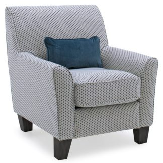 An Image of Barresi Fabric Accent Chair In Teal With Wooden Legs