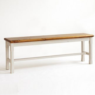 An Image of Boddem Dining Bench In White Pine Wood Cottage Style