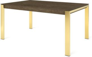 An Image of Custom MADE Corinna 6 Seat Dining Table, Smoked Oak and Brass