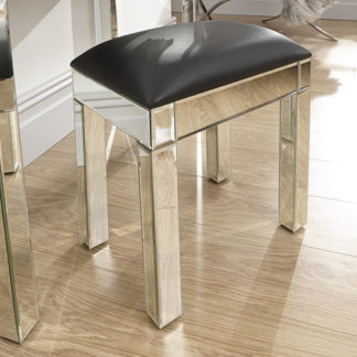 An Image of Venetian Dressing Stool In Mirrored Finish