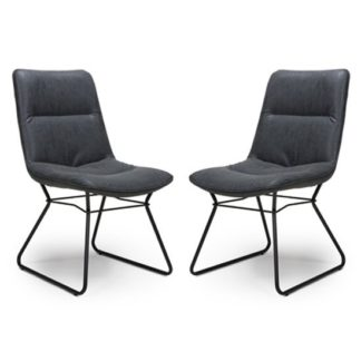 An Image of Darcy Wax Grey Faux Leather Dining Chair In A Pair