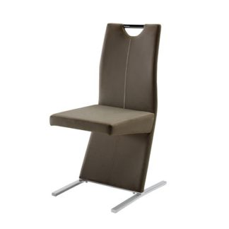 An Image of Image Metal Swinging Cappuccino Faux Leather Dining Chair