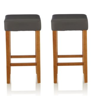 An Image of Newark Bar Stools In Grey PU And Oak Legs In A Pair