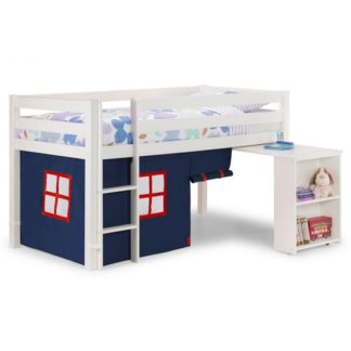 An Image of Wendy Midsleeper Bunk Bed In Surf White With Blue Tent