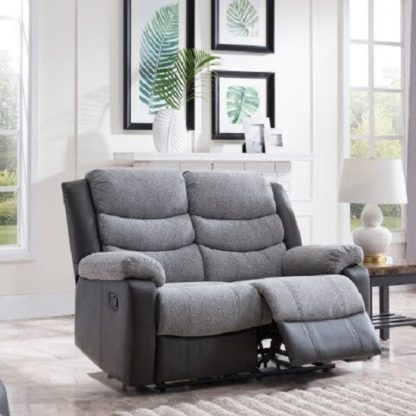 An Image of Brixton Recliner 2 Seater Sofa In Grey PU And Fabric