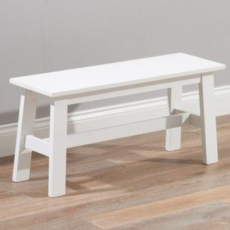 An Image of Antlia Wooden Small Dining Bench In White
