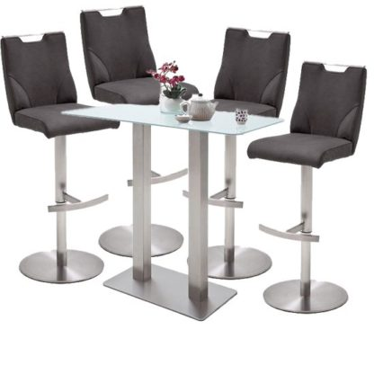 An Image of Soho Glass Bar Table With 4 Jiulia Anthracite Leather Stools