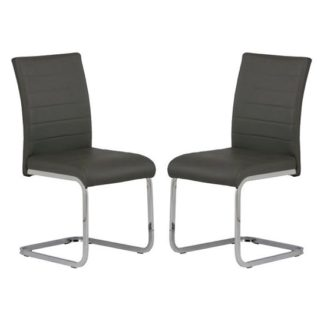 An Image of Pindall Dining Chair In Grey With Chrome Frame In A Pair