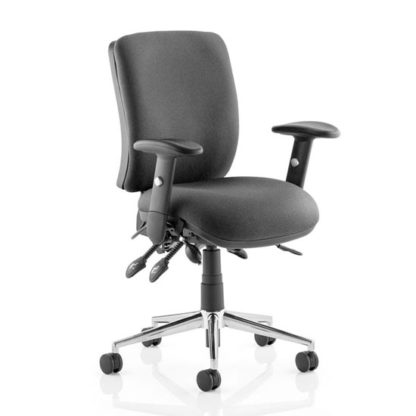 An Image of Chiro Fabric Medium Back Office Chair In Black With Arms