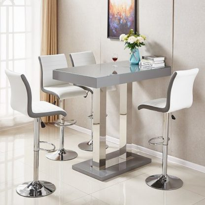 An Image of Caprice Glass Bar Table In Grey Gloss With 4 Ritz White Stools