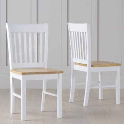 An Image of Botein Oak And White Dining Chairs In Pair