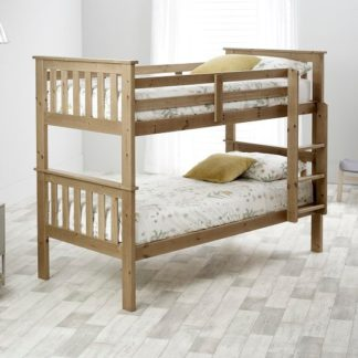 An Image of Katie Wooden Bunk Bed In Lacquered Pine