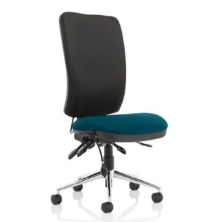 An Image of Chiro High Black Back Office Chair In Maringa Teal No Arms