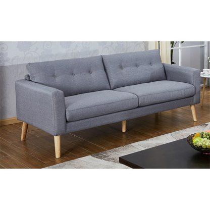 An Image of Megan Fabric 3 Seater Sofa In Grey