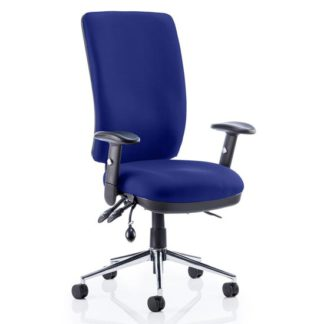 An Image of Chiro High Back Office Chair In Stevia Blue With Arms