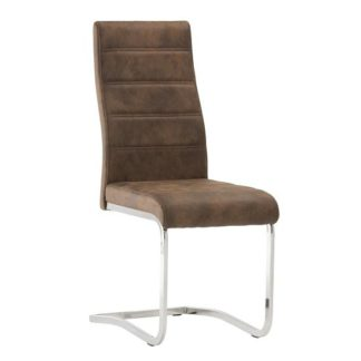 An Image of Justin Cantilever Dining Chair In Brown PU With Chrome Base