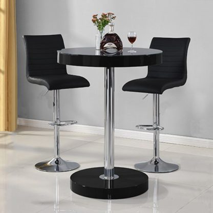 An Image of Havana Bar Table In Black With 2 Ripple Black Bar Stools