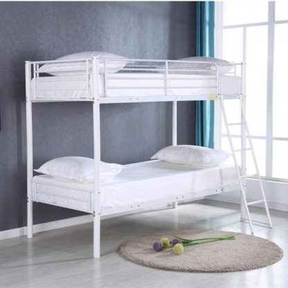 An Image of Himley Metal Bunk Bed In White