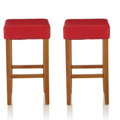 An Image of Newark Bar Stools In Red PU And Oak Legs In A Pair