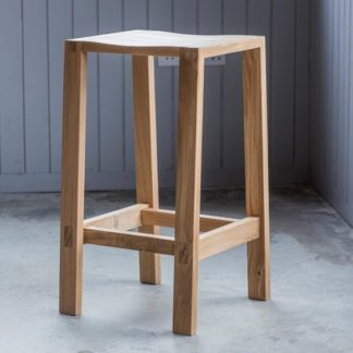 An Image of Kielder Wooden Bar Stool In Oak