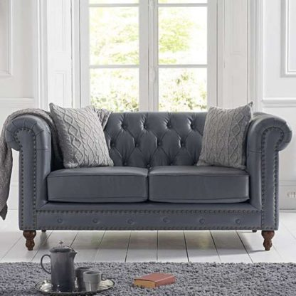 An Image of Propus Leather 2 Seater Sofa In Grey