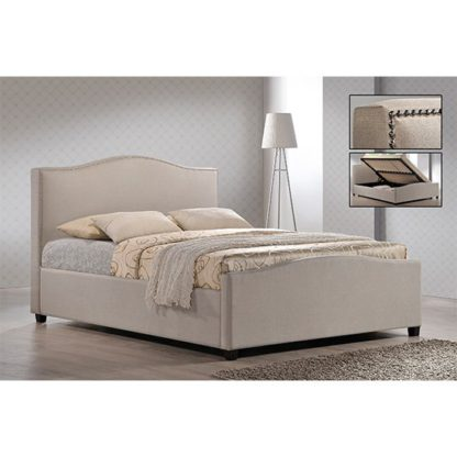 An Image of Brunswick Fabric Storage Ottoman King Size Bed In Sand