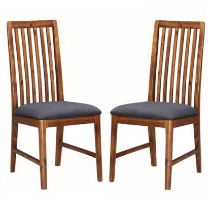 An Image of Trimble Wooden Dining Chair In Rich Acacia In A Pair