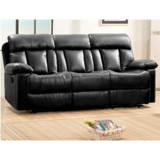 An Image of Ohio Recliner Bonded Faux Leather 3 Seater Sofa In Black