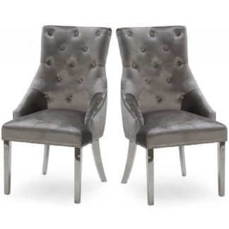 An Image of Enmore Crushed Velvet Dining Chair In Pewter In A Pair