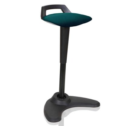 An Image of Spry Fabric Office Stool In Black Frame And Maringa Teal Seat