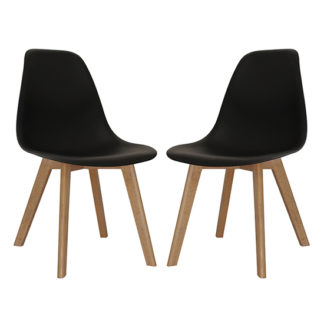 An Image of Canum Black Plastic Dining Chairs In Pair With Beech Legs