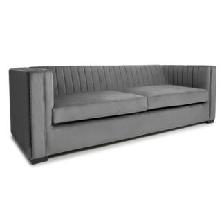 An Image of Torin 3 Seater Sofa In Grey Brushed Velvet