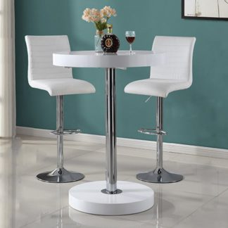 An Image of Havana Bar Table In White With 2 Ripple White Bar Stools