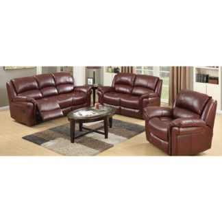 An Image of Lerna Leather 3 Seater Sofa And 2 Seater Sofa Suite In Burgundy