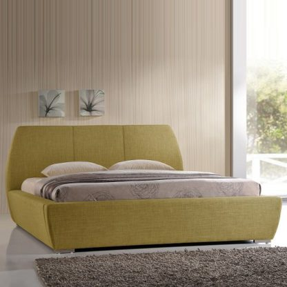 An Image of Naxos Modern King Size Bed In Green Fabric With Chrome Feet