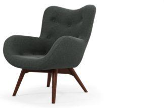 An Image of Custom MADE Doris Accent Armchair, Shetland Slate with Dark Wood Legs