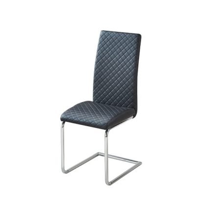 An Image of Ronn Dining Chair In Black Faux Leather With Chrome Legs