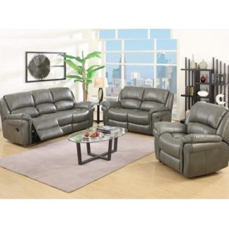 An Image of Claton Recliner Sofa Suite In Grey Faux Leather