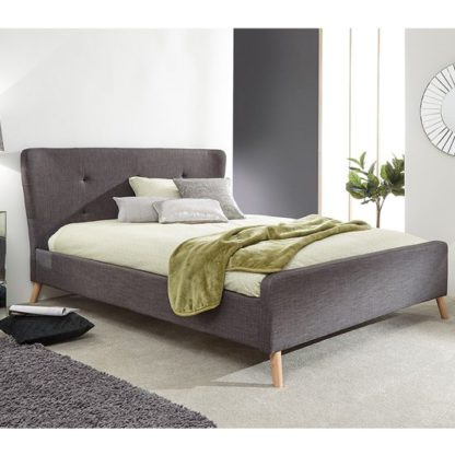 An Image of Carnaby Fabric Wing Double Bed In Grey