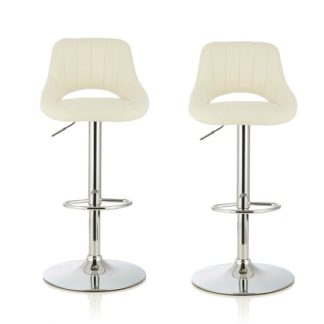 An Image of Shello Bar Stool In White Faux Leather And Chrome Base In A Pair
